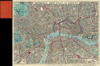 1860 Cruchley Pocket Map of London, England