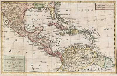 1765 Isaak Tirion Map of Central America and the West Indies