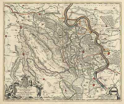 1721 De Wit Map of the County of Moers, Germany