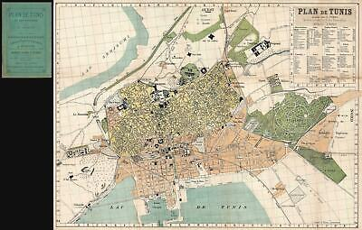 1899 Tardy Map of Tunis, Tunisia