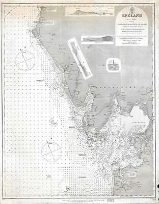 1873 Admiralty Nautical Chart of Maritime Map of the West Coast of England