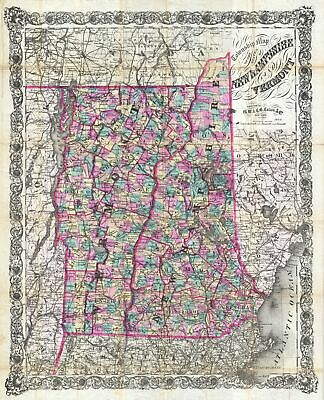1892 Colton Pocket Map of Vermont and New Hampshire