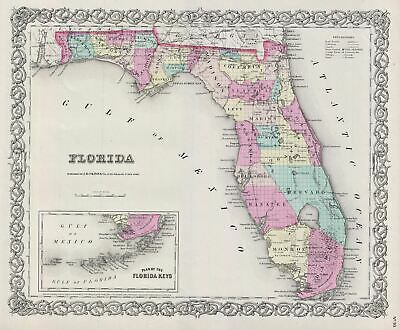 1856 Colton Map of Florida