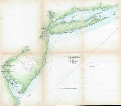 1850 U.S. Coast Survey Map of New Jersey and Long Island