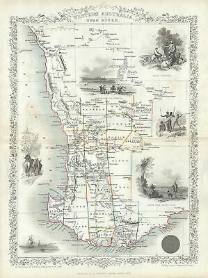 1851 Tallis and Rapkin Map of Western Australia