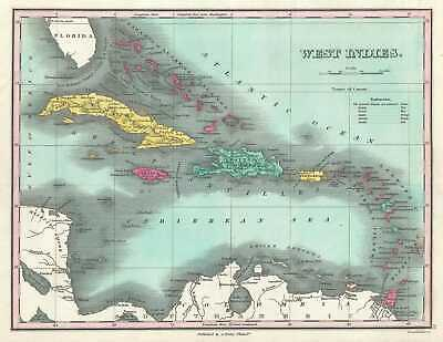 1828 Finley Map of the West Indies, Caribbean, and Antilles