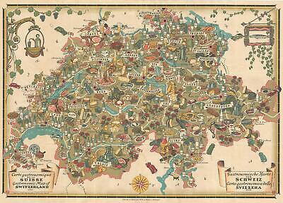1939 Pictorial Suizo Turismo Gastronomical Map Of Switzerland