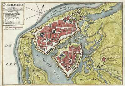 1766 Isaak Tirion Map of Cartagena, Colombia