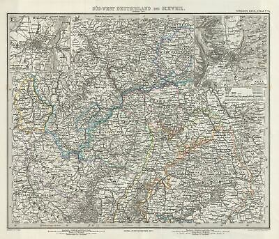 1873 Stieler Map of the Northern part of Southwest Germany