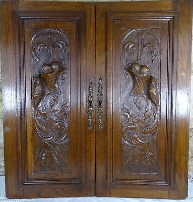 Pair Antique French Solid Oak Carved Wood Door/Panel  - Birds