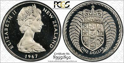 New Zealand $1 Dollar 1967 PL65 PCGS copper-nickel KM#38.1 PROOF LIKE GEM WHITE