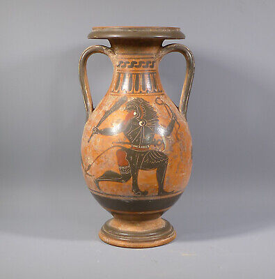 Rare Ancient Greek? Attic Terracotta Black Figured Amphora Vase #1