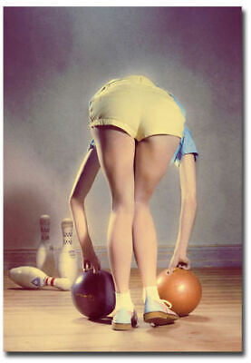 Bowling Pin Up Girl Fridge Toolbox Magnet Collectible Size 2.5_x 3.5_23333