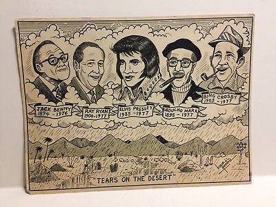 Vintage Drawing Jack Benny Ray Ryan Elvis Presley Groucho Bing by Buzz Gambill