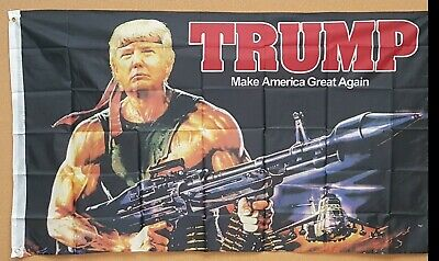 3' X 5' Poly Flag Donald Trump 2020 Rambo Bazooka Flag Banner