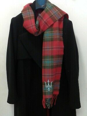 LOCHCARRON of Scotland Red/Green Lambswool Scarf NWT (01)