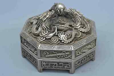 Collectable Handwork Decor Miao SIlver Carve Dragon Play Bead Exorcism Statue