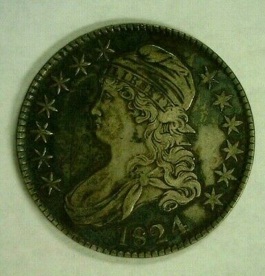 1824 CAPPED BUST SILVER HALF 50c O-116    (8272)