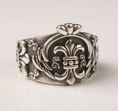 Rare China 925 Silver Hand Carving Ring Exclusive Custom Gift Colle Old