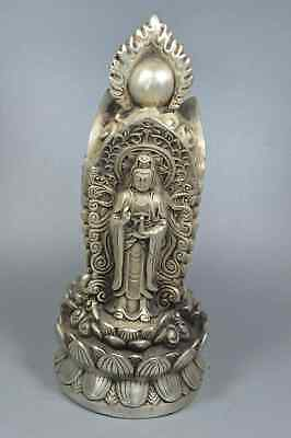 China Collectable Handwork Old Miao SIlver Carve Buddha Play Bead Noble Statue
