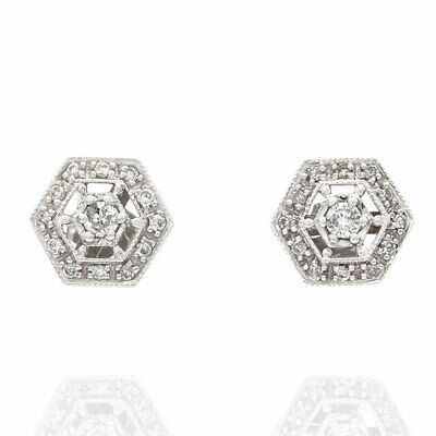14KW Diamond Hexagonal Earrings
