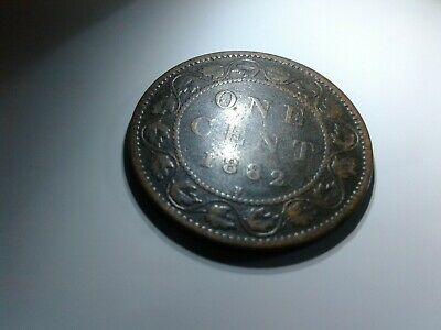 1882 H Canadian Canada Copper Large Cent Coin One Cent  (AU)