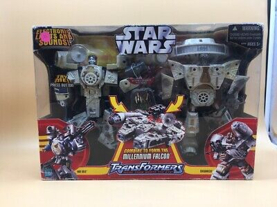 Star Wars Transformers  Millennium Falcon Han Solo Chewbacca Rare Big New !