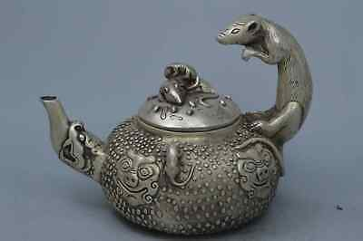 Collectable Handwork Tibet Miao SIlver Carve Mice & Lion Exorcism Lucky Tea Pot