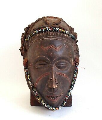 Old African Tribal Chokwe carved wood mask