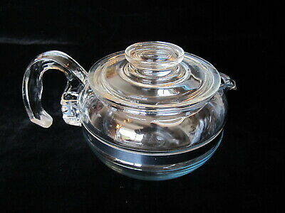 Pyrex 8446B 6 Cup Glass Coffee/Tea Pot W/Lid 7756-C & Stainless Steel Band 8446