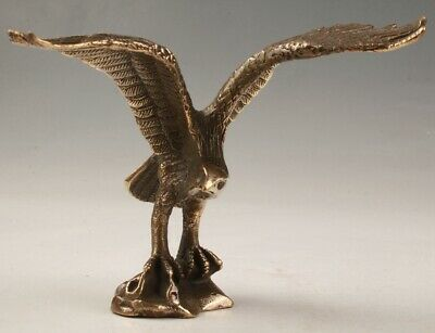 Rare China Bronze Unique Handmade Carving Eagle Animal Statue Old Collec