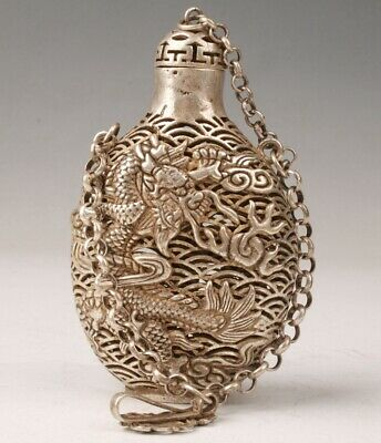 Retro Tibetan Silver Snuff Bottle Handmade Carving Dragon Statue Pendant Old