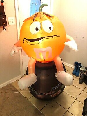 Inflatable Animated Orange M&M Black Pot Gemmy  Halloween Airblown