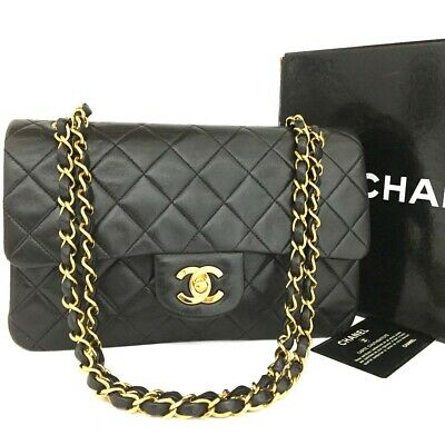 CHANEL Double Flap 23 Quilted CC Logo Lambskin w/Chain Shoulder Bag Black/rBDX x