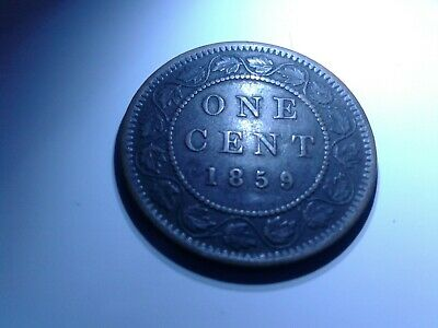 1 cent 1859/8 Wide 9 Canada large one copper penny coin Queen Victoria