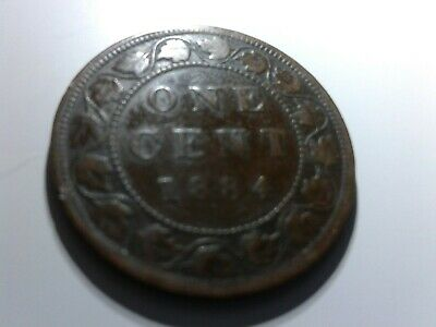 1884 Canada One 1 Cent Copper Large Penny Canadian Victoria Circulated Coin J892
