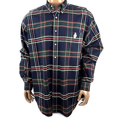 Vintage Ralph Lauren Mens Lrg Blue Plaid Bear Pocket Button Down 90s Blake Shirt