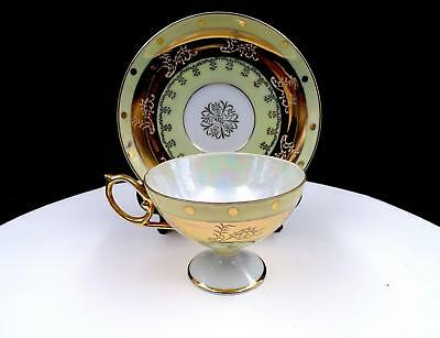 """Royal Halsey Lipper & Mann Yellow And Gold Mother Of Pearl 2 5/8"""" Cup And Saucer"""