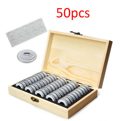 50 Capsules For Collectible Coin Wooden Coins Display Storage Box Case AU