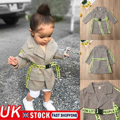 UK 2PCS Kids Baby Girls Plaid Jacket Coat + Belt Autumn Winter Warm Outfits