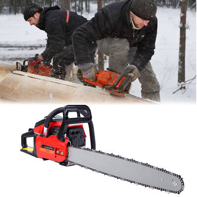 Used 52cc 22'' Gas Powered Chainsaw Gasoline 2 Cycle Chain Saw Wood Cutting Tool