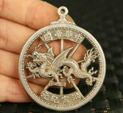 rare copper silver auspicious sign dragon statue pendant netsuke collectible