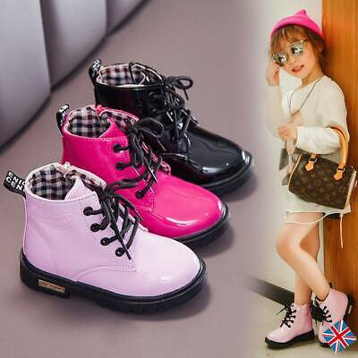 Kids Girl PU Leather Martin Shoes Toddlers Casual Lace Up Ankle Punk Boots Size