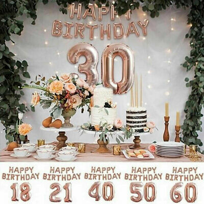 Rose Gold Happy Birthday Balloons Foil Number 16th 18th 21st Age Party Decor UK