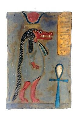 Egyptian Antique Colored Stela Tawaeret The Great Hippo and Crocodile Nile God