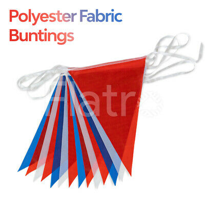 20 Flags Pennant Banner Party Bunting Material Polyester Red White Blue 33 Feet
