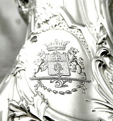 French STERLING SILVER: Rare EGOIST TEAPOT with Armorial Crest NO DEFAULT!