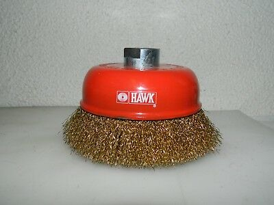 """Hawk Crimped Steel Wire Cup Brush 5"""" Diam x M16x2 Hole Size  04186342"""