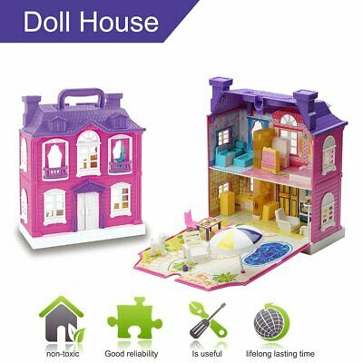 Doll House With Furniture Miniature House Dollhouse Assembling Toys For Kids LM