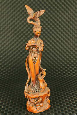unique chinese old boxwood hand carved peri figure statue noble home collectable